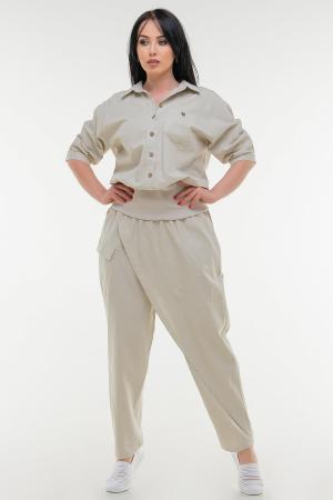 Брюки женские бежевого цвета it 604|интернет-магазин vvlen.com