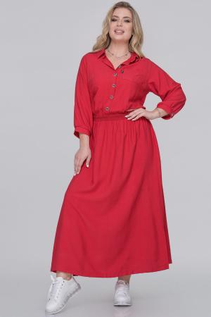 Повседневное платье рубашка красного цвета|интернет-магазин vvlen.com