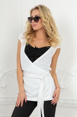 Кардиган с поясом белого цвета|интернет-магазин vvlen.com