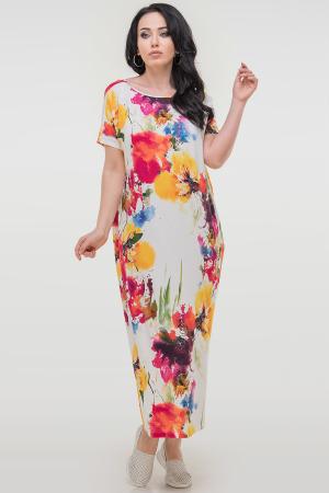 Летнее платье оверсайз белого с красным цвета 2665-1.17|интернет-магазин vvlen.com