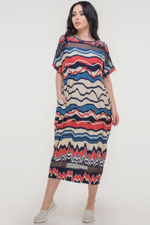 Летнее платье оверсайз синего с красным цвета 2711-1.5|интернет-магазин vvlen.com