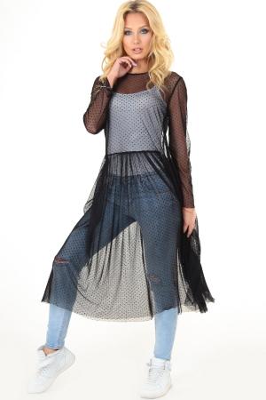 Клубное платье с пышной юбкой черного цвета|интернет-магазин vvlen.com