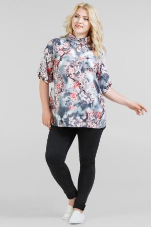 Блуза серого с розовым цвета|интернет-магазин vvlen.com