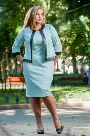 Женский костюм большего размера мятный цвета|интернет-магазин vvlen.com
