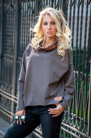 Худи оверсайз коричневого цвета  2405.79|интернет-магазин vvlen.com