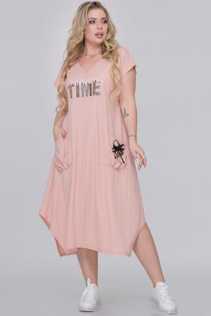 Летнее платье трапеция персикового цвета|интернет-магазин vvlen.com