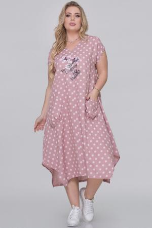 Летнее платье трапеция фрезового цвета|интернет-магазин vvlen.com