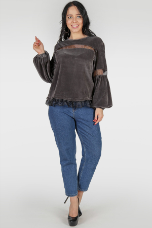 Блуза темно-серого цвета|интернет-магазин vvlen.com