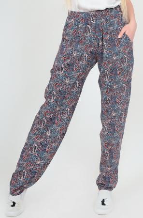 Брюки женские серого с бирюзой цвета 2371.84|интернет-магазин vvlen.com
