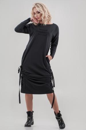 Повседневное платье  мешок черного цвета 2640.79 интернет-магазин vvlen.com