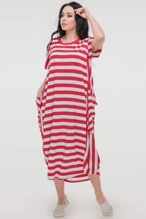 Летнее платье оверсайз красной полоски цвета 2675-1.17|интернет-магазин vvlen.com