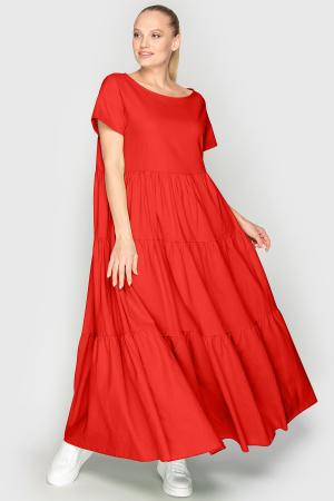 Летнее платье с пышной юбкой кораллового цвета 345|интернет-магазин vvlen.com