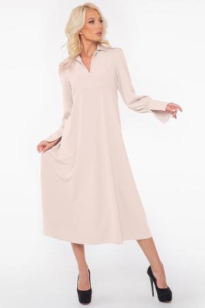 Повседневное платье с длинной юбкой молочного цвета 2946.132|интернет-магазин vvlen.com