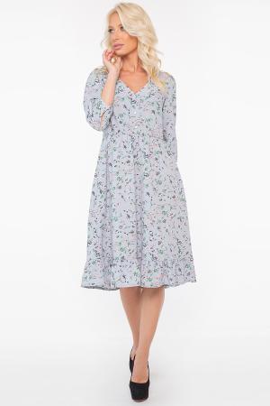 Повседневное платье с расклешённой юбкой серо-голубого цвета 2964.100|интернет-магазин vvlen.com