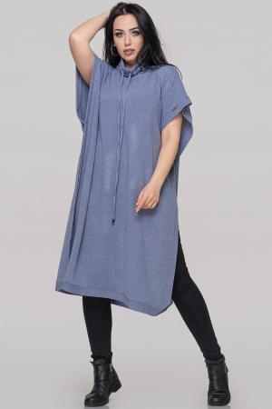 Туника асимметричная серо-голубого цвета|интернет-магазин vvlen.com