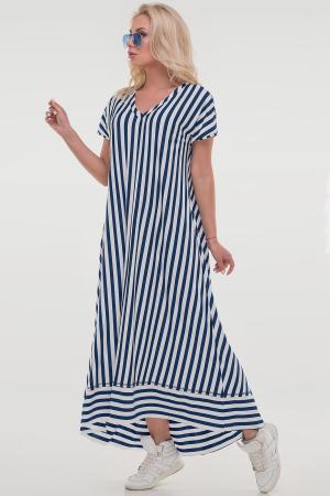 Платье в полоску оверсайз синее с белым 2835-1.17|интернет-магазин vvlen.com