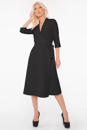 Повседневное платье с расклешённой юбкой черного цвета 2947.132|интернет-магазин vvlen.com