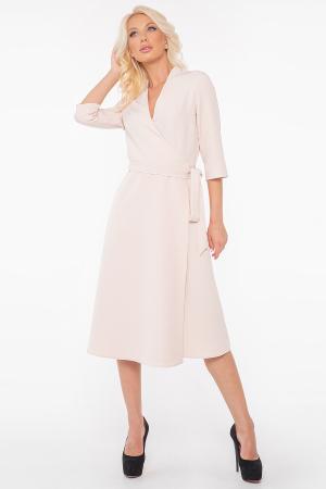 Повседневное платье с расклешённой юбкой молочного цвета 2947.132|интернет-магазин vvlen.com