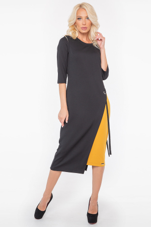 Повседневное платье футляр черное с горчичным цвета 2948.47|интернет-магазин vvlen.com