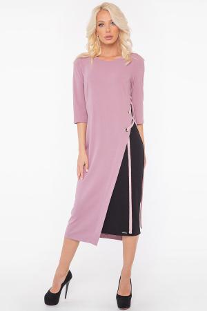 Повседневное платье футляр фрезовое с черным цвета 2948.1 интернет-магазин vvlen.com
