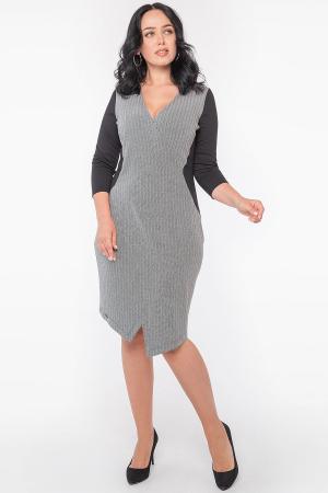Офисное платье футляр серого с черным цвета 2956.1|интернет-магазин vvlen.com