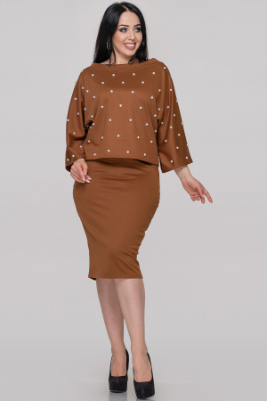Женский костюм с юбкой горчичный цвета|интернет-магазин vvlen.com