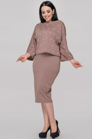Женский костюм с юбкой мокко цвета|интернет-магазин vvlen.com
