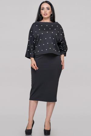 Женский костюм с юбкой черного цвета 502.47|интернет-магазин vvlen.com