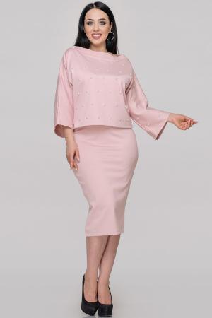 Женский костюм с юбкой пудру цвета|интернет-магазин vvlen.com