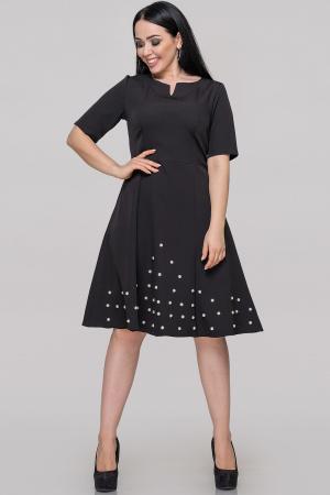 Коктейльное платье с расклешённой юбкой черного цвета|интернет-магазин vvlen.com