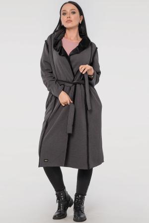 Кардиган с поясом темно-серого цвета 2841.94|интернет-магазин vvlen.com
