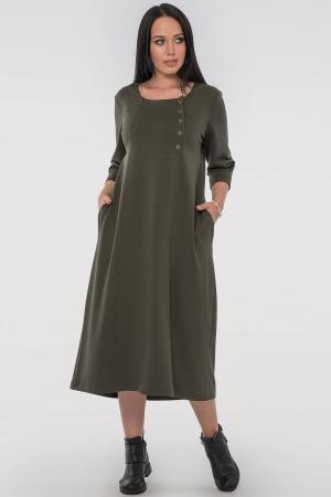 Платье трапеция хаки цвета |интернет-магазин vvlen.com