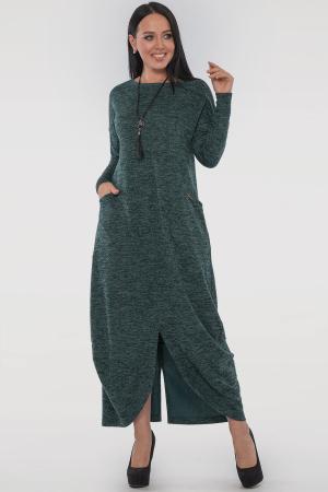 Повседневное платье трапеция зеленого цвета|интернет-магазин vvlen.com