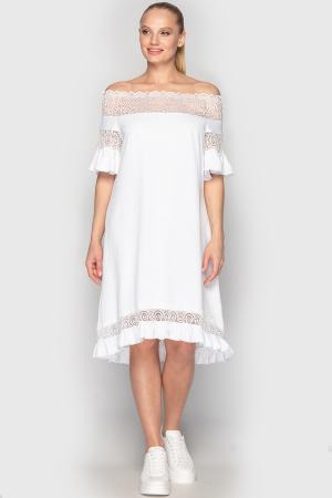 Летнее платье с открытыми плечами белого цвета 759|интернет-магазин vvlen.com