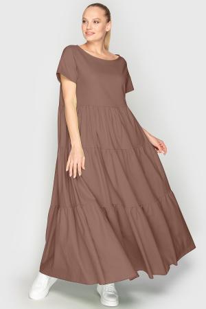 Летнее платье с пышной юбкой мокко цвета 345|интернет-магазин vvlen.com