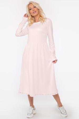 Повседневное платье с расклешённой юбкой бледно-розовый цвета 2961-1.46 интернет-магазин vvlen.com