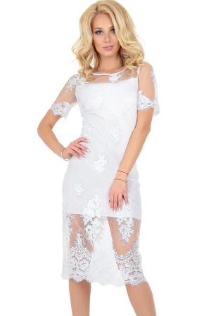 Коктейльное платье футляр молочного цвета|интернет-магазин vvlen.com