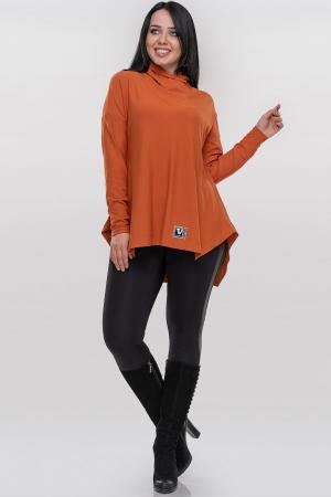 Туника асимметричная оранжевого цвета |интернет-магазин vvlen.com