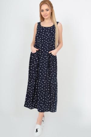 Летнее платье оверсайз темно-синего цвета|интернет-магазин vvlen.com