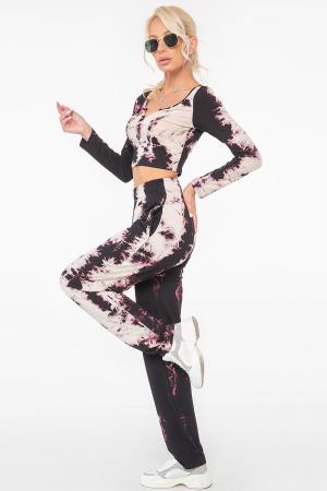 Прогулочный костюм черного с розовым цвета 2967.17|интернет-магазин vvlen.com