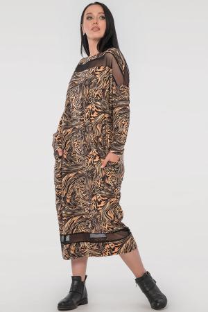 Платье оверсайз черного с оранжевым цвета 2711.17|интернет-магазин vvlen.com