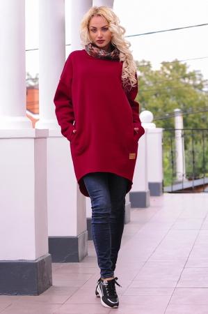 Худи оверсайз бордового цвета с капюшоном |интернет-магазин vvlen.com