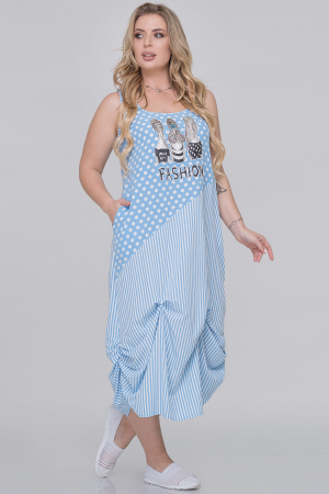 Летнее платье  мешок голубого с белым цвета|интернет-магазин vvlen.com