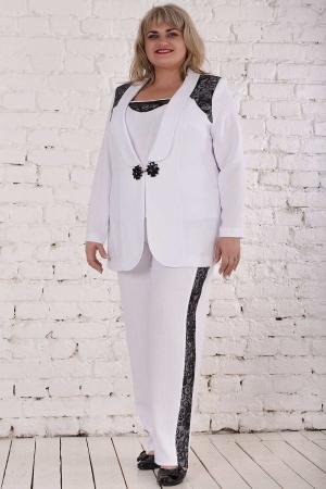 Женский костюм большего размера белого цвета|интернет-магазин vvlen.com