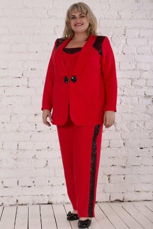 Женский костюм большего размера красного цвета|интернет-магазин vvlen.com