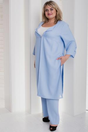 Женский костюм большего размера голубой цвета|интернет-магазин vvlen.com