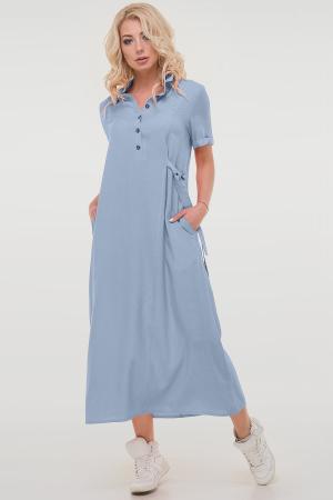 Летнее платье рубашка серо-голубого цвета|интернет-магазин vvlen.com
