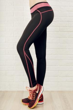Лосины для фитнеса черного с розовым цвета|интернет-магазин vvlen.com