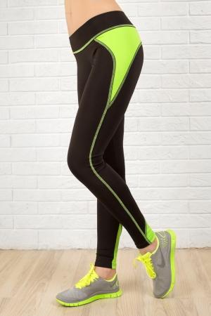 Лосины для фитнеса черного с зеленым цвета 2311.67|интернет-магазин vvlen.com