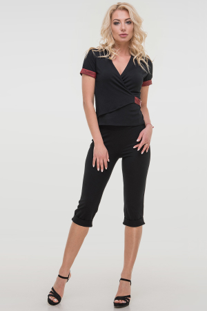 Капри женские черного цвета 026.2|интернет-магазин vvlen.com